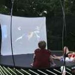 Setting up a Movie Theater on the Trampoline