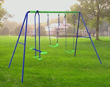 Swing-Set-For-Small-Yards-BestValue-Go-Metal-Frame-Seesaw